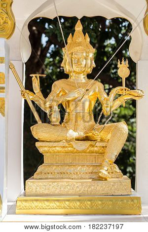 Golden Brahma Indian Hinduism God four faces in Thailand temple