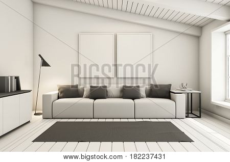 Livingroom under the roof interior design modern & loft - 3D render