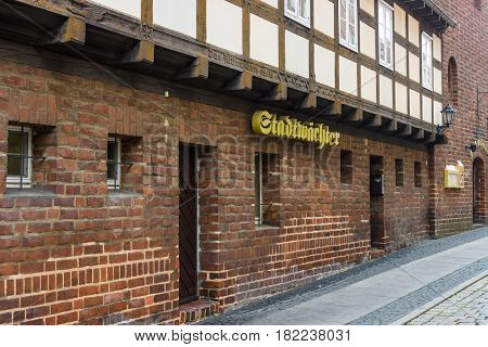 COTTBUS GERMANY - OCTOBER 18 2016: Pub in the historical part of the city (Alt Markt). Cottbus is a university city and the second-largest city in federal state of Brandenburg.