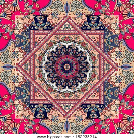 Unique bandana print. Lovely tablecloth with flower - mandala and bright ornament. Square, rug, kerchief, cushion. Seamless patchwork pattern in russian style.