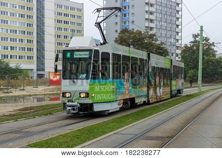 COTTBUS GERMANY - OCTOBER 18 2016: Urban public transport - the tram. Cottbus is a university and the second-largest city in federal state of Brandenburg.