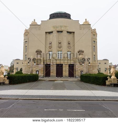COTTBUS GERMANY - OCTOBER 18 2016: The Art-Nouveau facade of the State Theater (1905). Cottbus is a university and the second-largest city in federal state of Brandenburg.