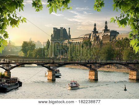 View on Pont des Arts in Paris at sunset, France