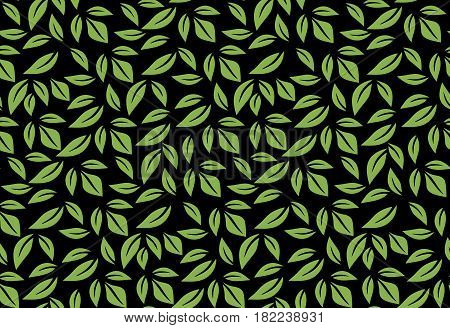 Greenery leaf seamless pattern wallpaper vector illustration. Spring color 2017, eco wrapping paper design, black background