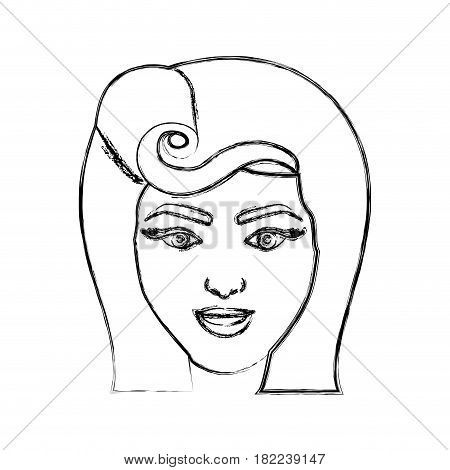 blurred silhouette drawing of face woman with pin up swirl hairstyle vector illustration