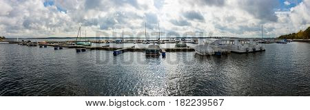 SENFTENBERG GERMANY - OCTOBER 19 2016: Panoramic view on the marina in the popular holiday destination - Senftenberger See (Lake Senftenberg).
