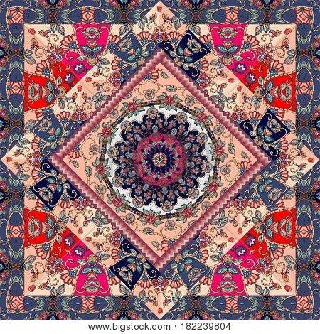Shawl. Lovely tablecloth. Beautiful carpet. Patchwork design.