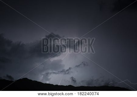 Lightning in the night sky. Mountains in Montenegro