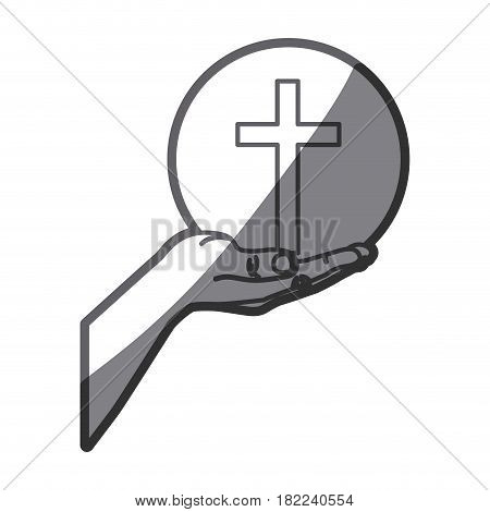 grayscale silhouette of hand extended with sphere with cross symbol vector illustration