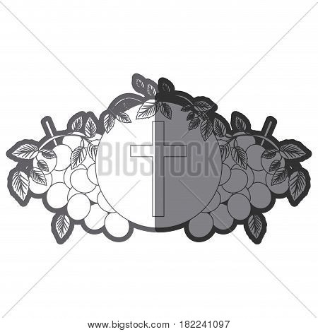 grayscale silhouette of communion religious icons of grapes and christian cross vector illustration