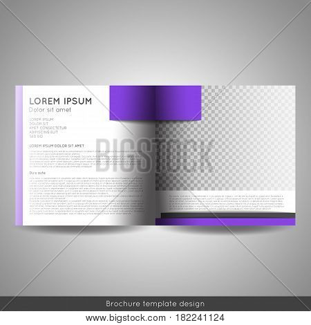 Bi fold square business or educational brochure template design. Stock vector.