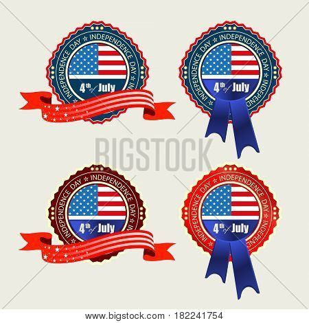 badge, emblem with the flag of America IP details of red and blue ribbons