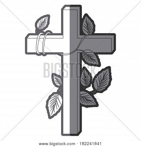 grayscale silhouette of wooden cross and creeper plant vector illustration
