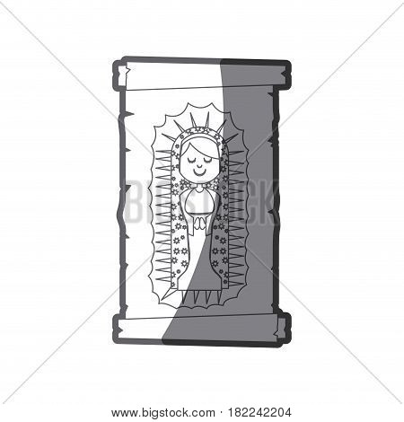 grayscale silhouette of canvas of virgin of guadalupe vector illustration