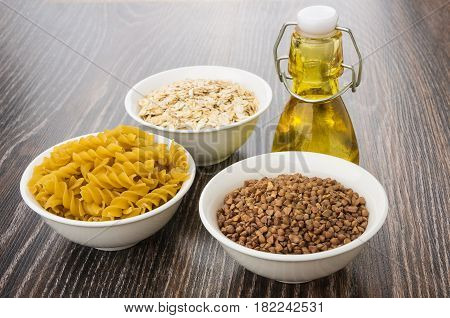 Bowls With Pasta From Durum Wheat, Oatmeal, Buckwheat And Oil