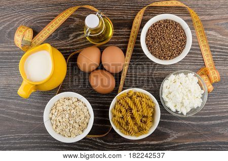 Dairy Products, Chicken Eggs, Pasta, Cereals And Vegetable Oil