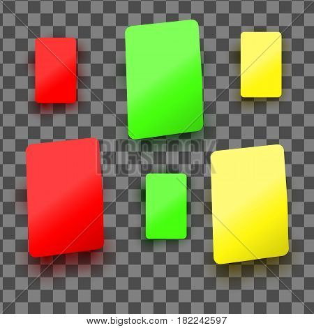 Vector set of red yellow and green plastic cards