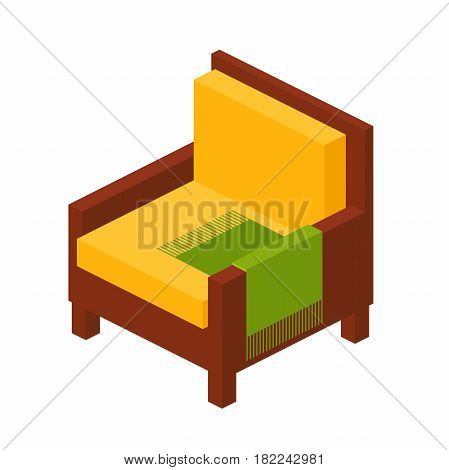wooden chair with high backrest in isometric view, an armchair with pillows and a blanket in a flat style. vector illustration isolated from background