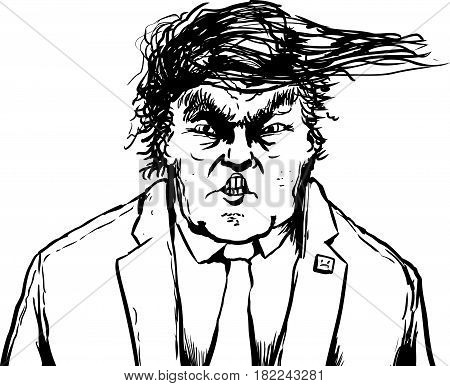 Outlined Trump Hair Blowing Sideways