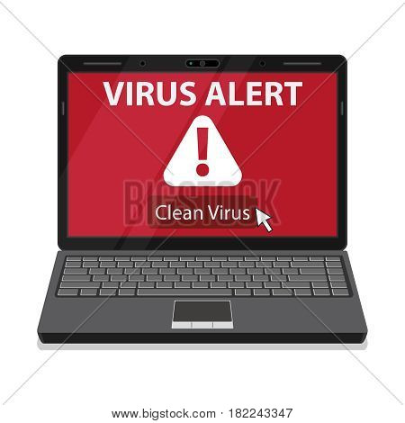 Laptop and virus alert message on screen.. Vector illustration in flat design style