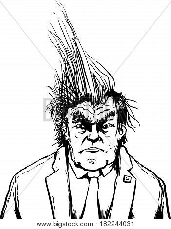 Outlined Grumpy Trump With Spiked Hair