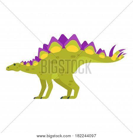 Vector flat style illustration of prehistoric animal - Stegosaurus. Isolated on white background.