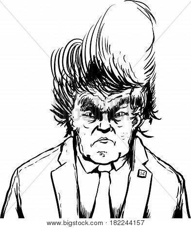 Outlined Donald Trump In Tacky Hairdo