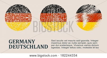 Germany flag design concept. Flags collection textured in grunge style with country name. Image relative to travel and politic themes. Translation of the inscription: Germany