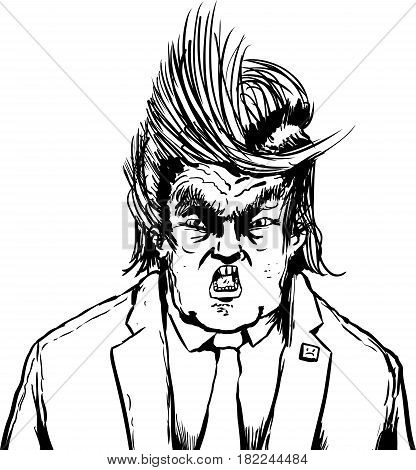 Hollering Trump With Weird Parted Hair