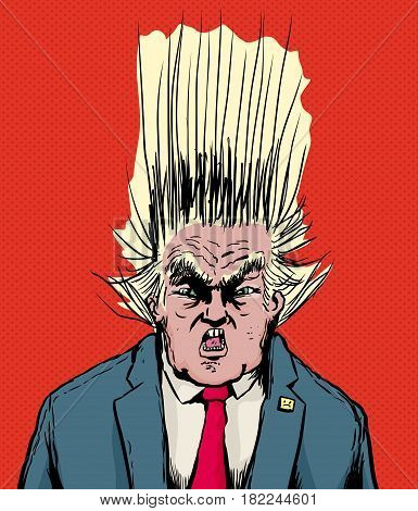Screaming Trump With Hair Flying Upward