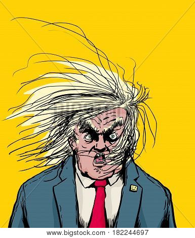Hair Blowing In Face Of Angry Donald Trump