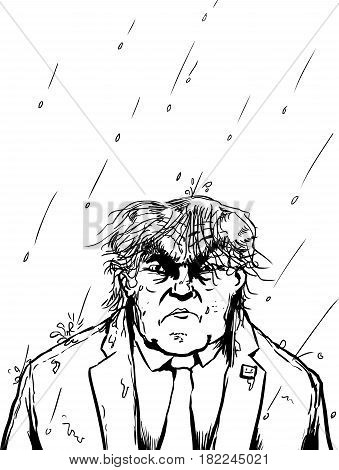 Outline Of Wet Trump In Thunderstorm