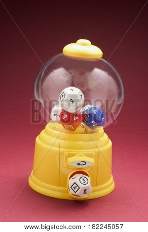 Dice in Bubblegum Machine with Red Background