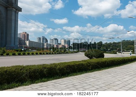 Street in Pyongyang, the capital of North Korea.
