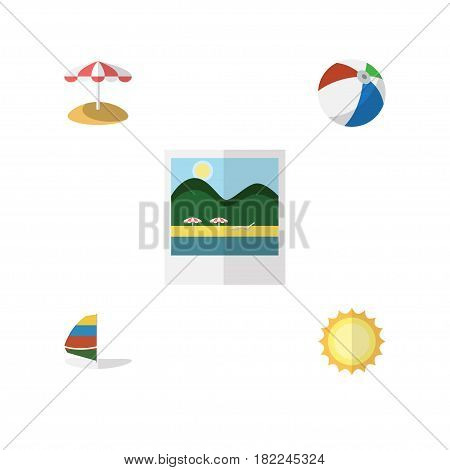 Flat Hot Set Of Surfing, Sunshine, Parasol And Other Vector Objects. Also Includes Pictures, Sailboard, Ball Elements.