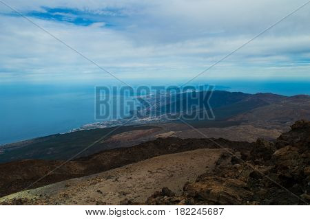 An amazing view of the Atlantic Ocean and the northern part of the island from the volcano Teide. Canary Islands, Tenerife Island, Spain
