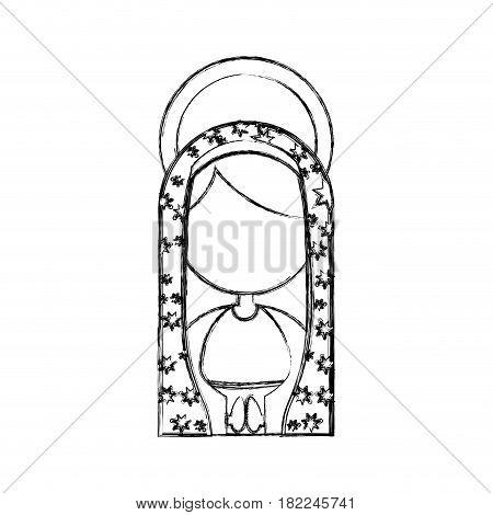 monochrome sketch contour of half body faceless virgin of guadalupe vector illustration