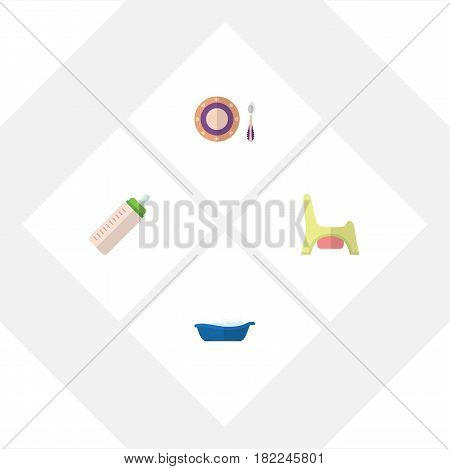 Flat Child Set Of Feeder, Bathtub, Baby Plate And Other Vector Objects. Also Includes Dish, Baby, Bottle Elements.