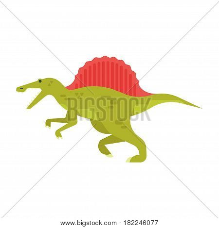 Vector flat style illustration of prehistoric animal - spinosaurus. Isolated on white background.
