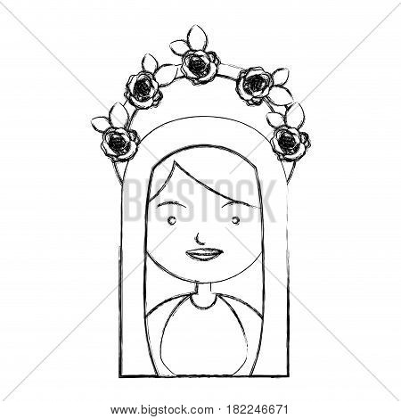 monochrome sketch contour of half body beautiful virgin with crown of roses and mantle vector illustration