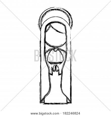 monochrome sketch silhouette of faceless beautiful virgin with mantle and aura vector illustration
