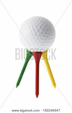 Golf Ball on Tees on Isolated White Background