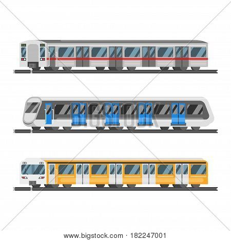 Vector flat style set of metro trains. Isolated on white background.