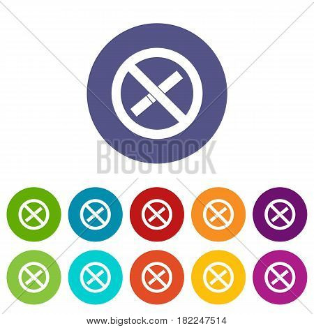 Sign prohibiting smoking icons set in circle isolated flat vector illustration