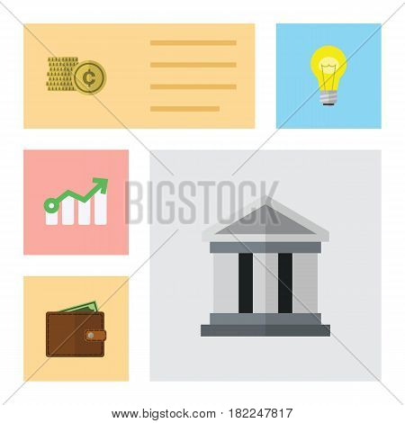 Flat Gain Set Of Cash, Billfold, Growth And Other Vector Objects. Also Includes Arrow, Billfold, Architecture Elements.