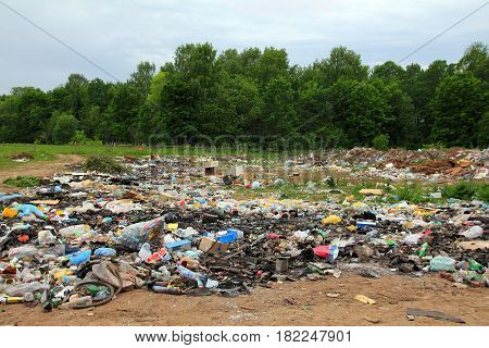 garbage in landfill near forest - environment pollution