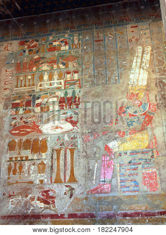 ancient egypt images on wall in Luxor Temple of Hatshepsut