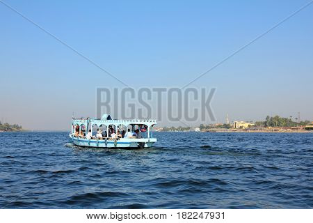 crossing of the Nile River in Luxor Egypt