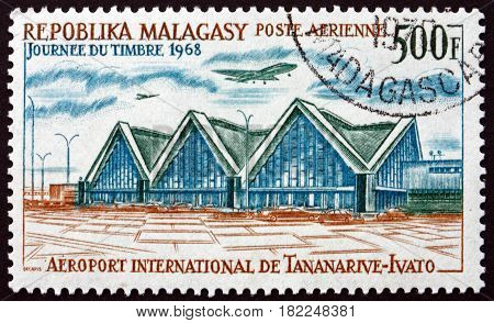 MALAGASY - CIRCA 1968: a stamp printed in Malagasy Madagascar shows Tananarive-Ivato International Airport circa 1968