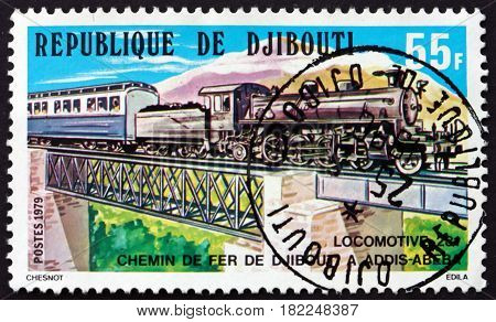 DJIBOUTI - CIRCA 1979: a stamp printed in Djibouti shows Steam Locomotive 231 Djibouti-Addis Ababa Railroad circa 1979